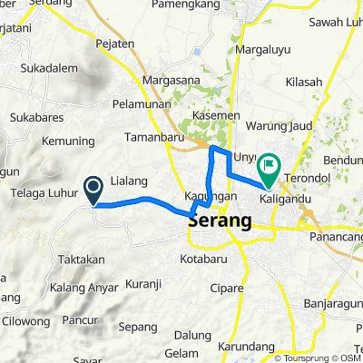 Jalan Takari 37, Kecamatan Taktakan to Jalan Bumi Agung Permai 2 8, Kecamatan Serang