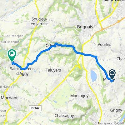 De 4 Impasse du Bouillon, Millery à 34–552 Montée de la Chapelle, Saint-Laurent-d'Agny