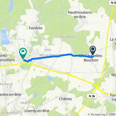 De Rue Est Jodelle 9, Les Chapelles-Bourbon à Rue Georges Clemenceau 20, Tournan-en-Brie