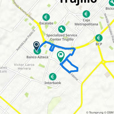 Avenida Larco 1471, Trujillo to Calle Los Caibos f14, Trujillo