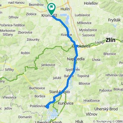 Kromeriz-Otrokovice-Napajedla-Stare Mesto(-Uh. Hradiste)-Kostelany(-Kunovice)-Nedakonice 82km (Zlin, Kromeriz area)