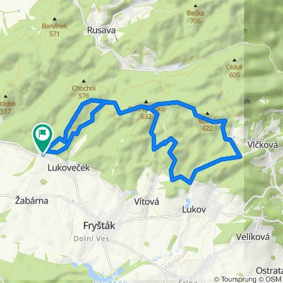 Hadovna-U Dubu-Pod Ondrejovskem-U Obrazku-Lukov (castle)-Bezednik-Vela 23 km (Frystak, Zlin area)