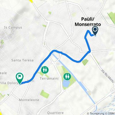 Da Via Terralba 25, Monserrato a Via Santa Maria Chiara 30, Cagliari