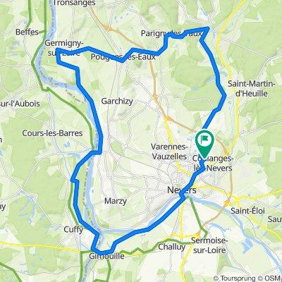 De Rue des Filles 58, Coulanges-lès-Nevers à Rue des Filles 56, Coulanges-lès-Nevers