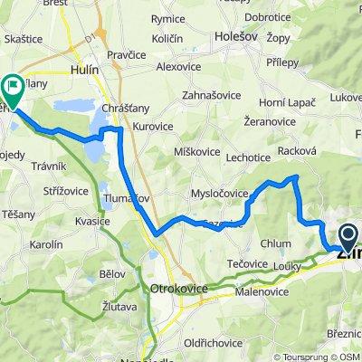 Zlin-Zbozenske rybniky-Rozhledna Hostinec-Hostisova-Sazovice-Hrabuvky-Tlumacov-Zahlinicke rybniky-Kromeriz 30km (Zlin, Kromeriz area)