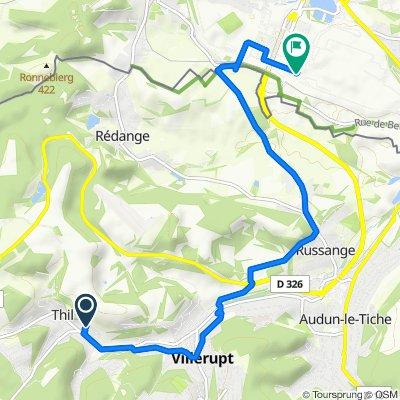 De 17 Rue du Tilleul, Thil à Avenue du Rock'n'Roll 1, Esch-Sur-Alzette