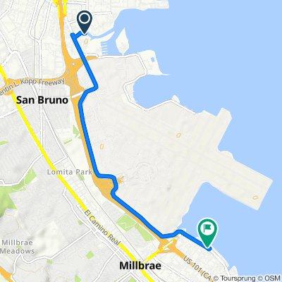 San Francisco Bay Trail, South San Francisco to 1712–1728 Bayshore Hwy, Burlingame