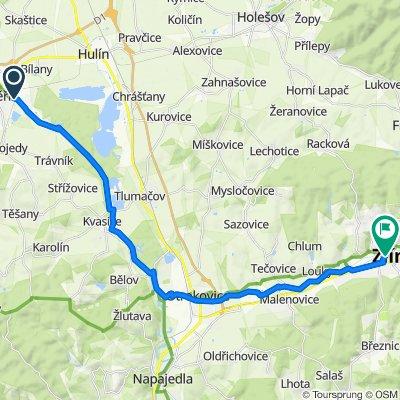 Kromeriz-Travniky-Kvasice-Otrokovice-Zlin 27km (Kromeriz, Zlin area)