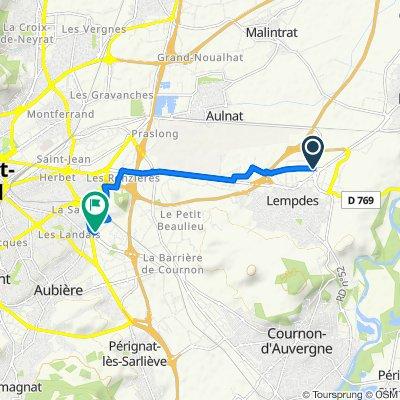 Itinéraire à partir de 39 Rue de La Rochelle, Lempdes