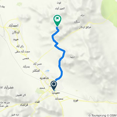 Route from درخشان, Yazd