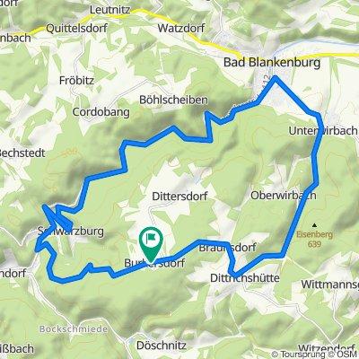 Burkersdorf - Schwarzburg - Bad Blankenburg - Unterwirbach - Dittrichshütte - Burkersdorf