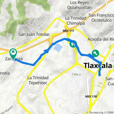 De Avenida Zahuapan 2, Panotla a Avenida Zahuapan 2, Panotla
