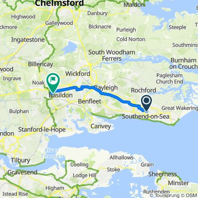 Route from 307 Sutton Road, Southend-on-Sea