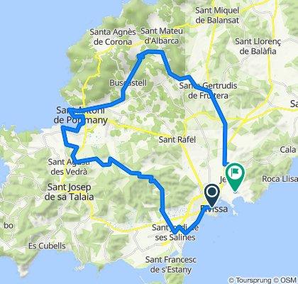De Avenida de Bartomeu de Rosselló, 16, Ibiza a Avenida Cap Martinet, 89, Santa Eulària des Riu