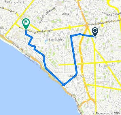 De Avenida Enrique Canaval y Moreyra 609, San Isidro a Avenida Juan de Aliaga 497, Magdalena del Mar