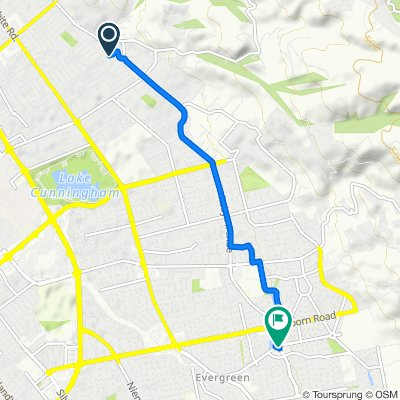 3435 Blue Mountain Dr, San Jose to 4025–4033 Evergreen Village Square, San Jose