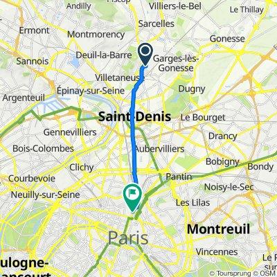 De Rue Gaëtan Bruyère 9, Pierrefitte-sur-Seine à Passage du Désir 11, Paris
