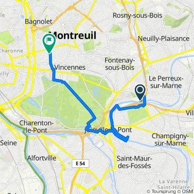 De 8 Place Maurice Chevalier, Nogent-sur-Marne à 33 Rue Lebour, Montreuil