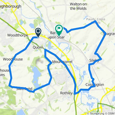Route from Alexander Road 3, Quorn