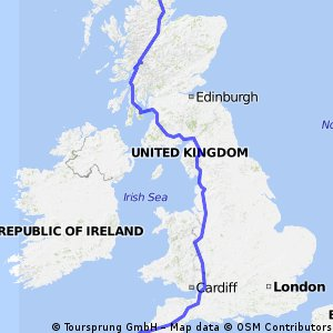 Pete's probable JOGLE route CLONED FROM ROUTE 379591