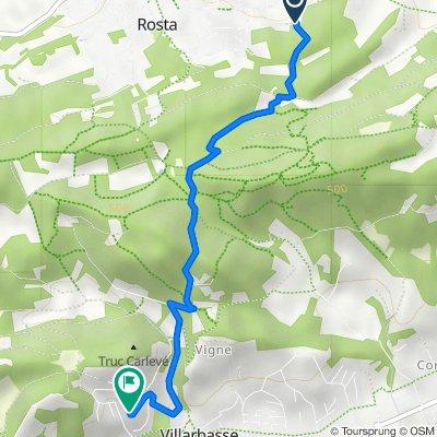 Da Via Bastone 86–94, Rosta a Via Truc Carlevè 22, Villarbasse