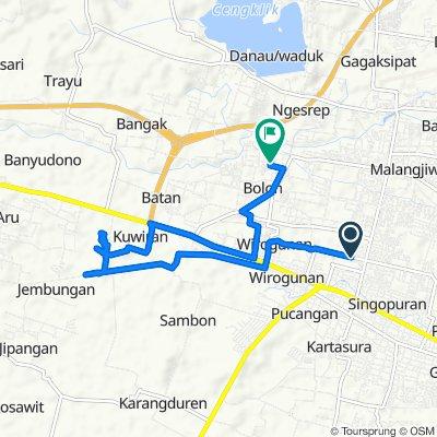 Area Sawah, Kecamatan Kartasura to Gonggongan, Kecamatan Colomadu
