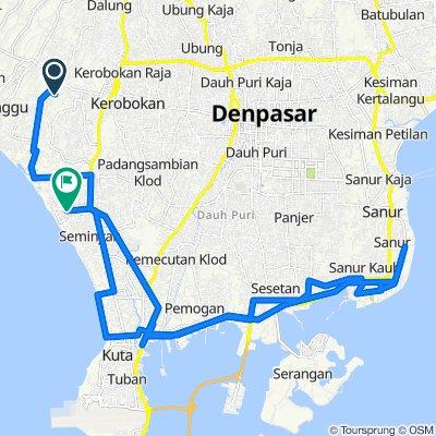 Jalan Pura Beten Kepuh 10, Kecamatan Kuta Utara to Jalan Kayu Cendana 8b, Kecamatan Kuta Utara