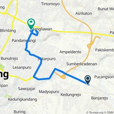 Jalan Raya Kedungrejo 11, Kecamatan Pakis to Gang II B54, Kecamatan Blimbing