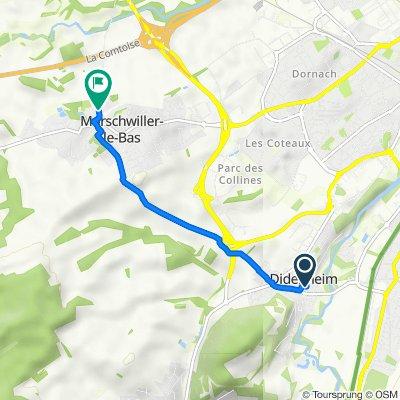 De 3–5 Chemin des Écoliers, Didenheim à Rue du Moulin, Morschwiller-le-Bas