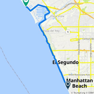 Route from Marvin Braude Bike Path, Manhattan Beach