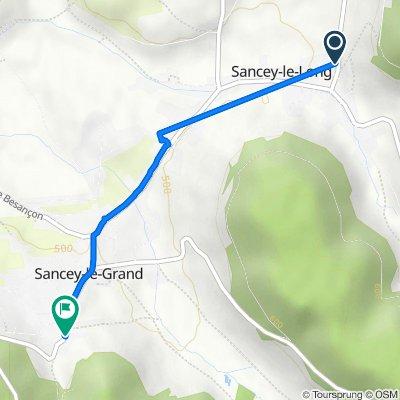 De 2 Route de Belvoir, Sancey-le-Long à 44 Rue Joseph Montravers, Sancey-le-Grand