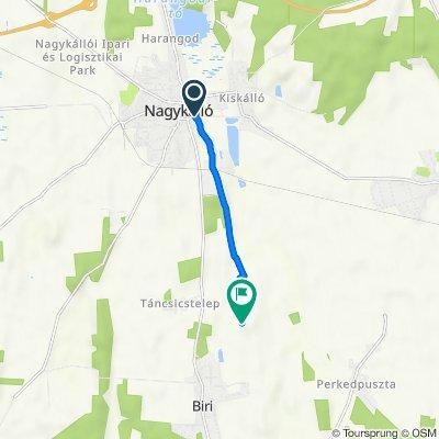 Route from Árpád utca 40., Nagykálló