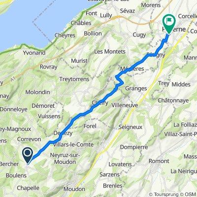 Route de Thierrens 10J, Montanaire to Rue de la Boverie 38–42, Payerne