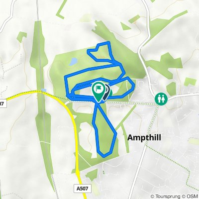 Route to 46–54 Woburn St, Ampthill, Bedford