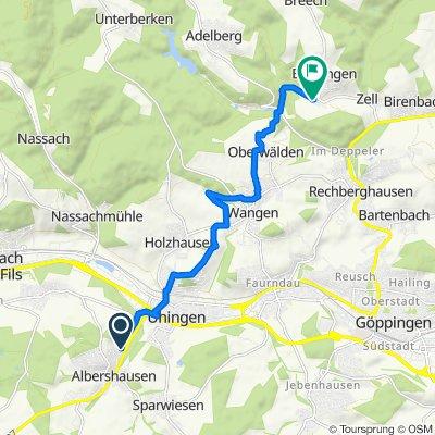 Waldeckstraße 10, Albershausen nach Stockbrunnenweg 5, Börtlingen