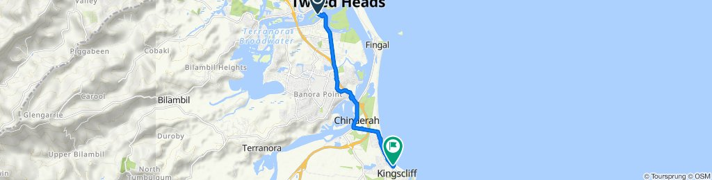 Route to 127 Marine Parade, Kingscliff