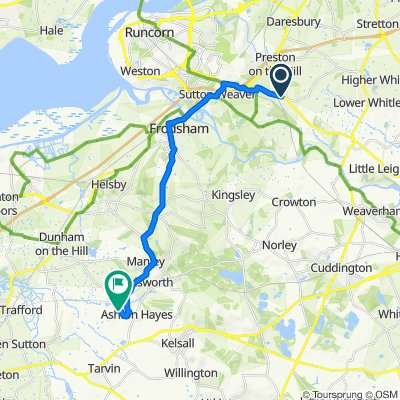 Trelill, Northwich Road, Warrington to 3, Peel Hall Park, Peel Hall Lane, Chester