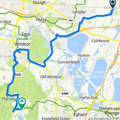 Route from 13 Syke Ings, Iver