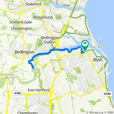 Route from 39 Bates Ave, Blyth