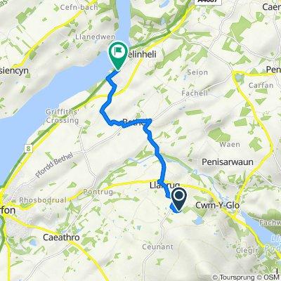 Route to 15 Caernarfon Road, Y Felinheli