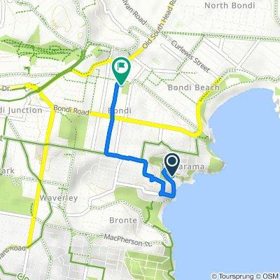 Route to 6-8 Ocean Street N, Bondi