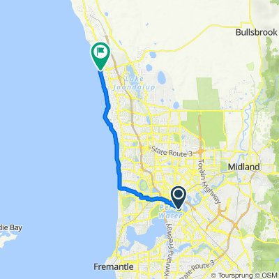 Mineral House ↔ Burns Beach home [coastal route]