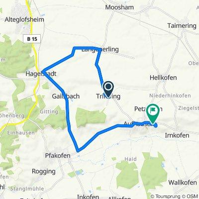 Route von Waldweg 6, Aufhausen