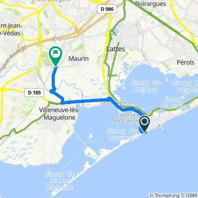 De 531 Avenue de l'Évêché de Maguelone, Palavas-les-Flots à Chemin de la Jasse de Maurin, Lattes
