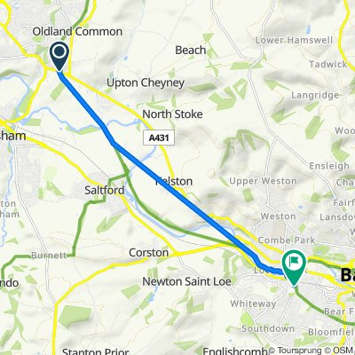 Route from Bitton Station, Bath Road, Bristol