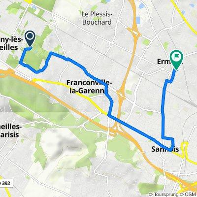De Chemin des Monts Rouges, Franconville à 25 Rue de la Halte, Ermont