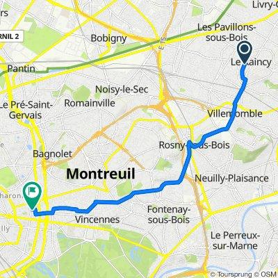 De 24 Allée Valère-Lefèbvre, Le Raincy à 2 Rue Philidor, Paris