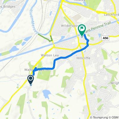 Warrington Road, Higher Walton, Warrington to 2 Warburton St, Warrington