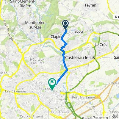 620 Rue de Viviers, Clapiers to 41–45 Boulevard des Bonnes Nouvelles, Montpellier