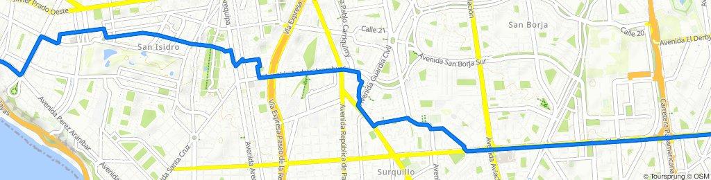 De Avenida del Ejército 1020, Magdalena del Mar a Avenida Primavera 1586, Santiago de Surco